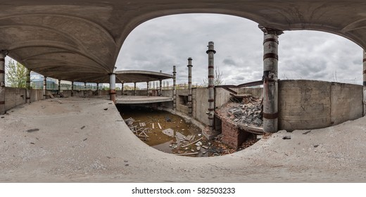 MINSK, BELARUS - JUNE 2013:  Full 360 equirectangular equidistant spherical panorama view of  abandoned building. Virtual reality content