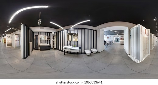 MINSK, BELARUS - JUNE 2017: panorama 360 angle view in interior modern ceramic tile shop, showroom bathroom. Full spherical 360 degrees seamless panorama in equirectangular projection, VR content