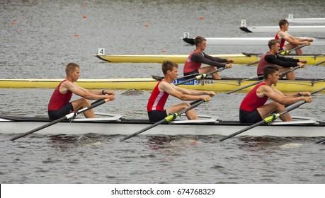 Minsk, Belarus - June 2017. Rowing channel. Competitions in rowing.