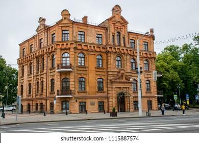 Minsk / Belarus - June 2018: Old Soviet historical buildings in the city center under dark sky.