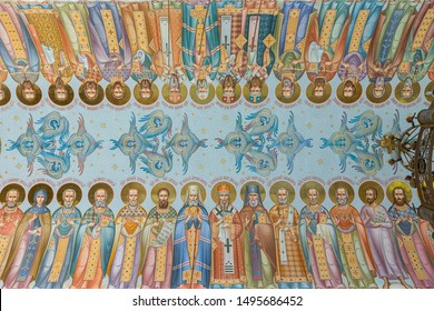 Minsk, Belarus - June, 2019. Ceiling in the Church of All Saints with fresco paintings of all saints