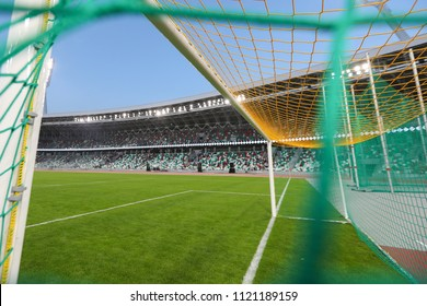 Minsk, Belarus - June 22, 2018 : Football goal close-up on the background of a sports stadium