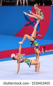 Minsk, Belarus - June 22, 2019: Gymnastics. Group. The girls. England. Minsk.