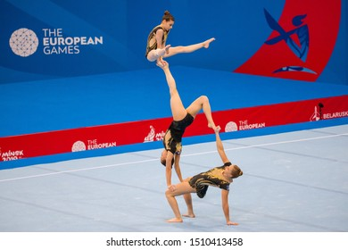 Minsk, Belarus - June 22, 2019: Gymnastics. Group. The girls.. Minsk.