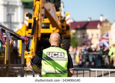 MINSK, BELARUS - June 23, 2019. JCB logo. JCB corporation is manufacturing equipment for construction and agriculture.