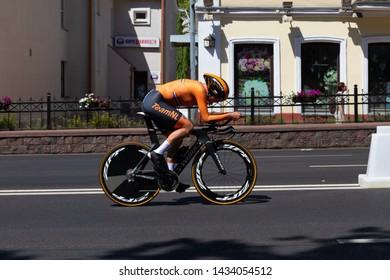 MINSK, BELARUS - JUNE 25, 2019: Cyclist from The Netherlands participates in Women Split Start Individual Race at the 2nd European Games event June 25, 2019 in Minsk, Belarus