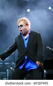 MINSK, BELARUS - JUNE 26: Singer Elton John performs onstage at Minsk Arena on June 26, 2010 in Minsk, Belarus