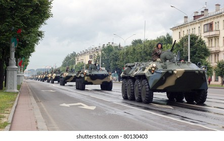 MINSK, BELARUS - JUNE 27: Military vehicles marching through the city center of Minsk, Belarus, 27 June, 2011. Rehearsal of Parade of Independence Day of Belarus which is to take place in Minsk on July 3.