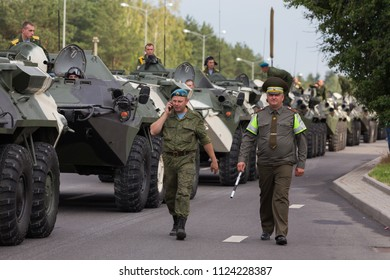 Minsk / Belarus - June 28, 2018 General rehearsal of the military parade in Belarus. Military equipment rides through city streets. Heavy fighting vehicles
