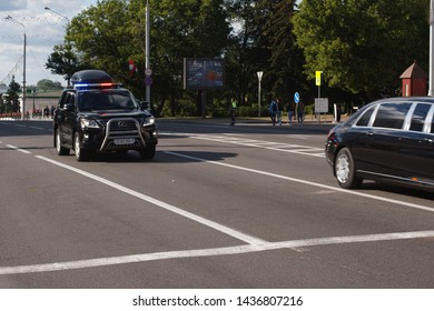 Minsk, Belarus -  June 28, 2019: Presidential motorcade of the President of Belarus Alexander Lukashenko rides through the streets of the city to the Dynamo Stadium to cheer on Belarusian athletes in