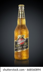 MINSK, BELARUS - JUNE 29, 2017: Miller Genuine Draft Beer isolated on black. Miller is the original cold filtered packaged draft beer, a product of the Miller Brewing Company owned by SABMiller.