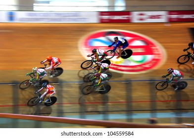 MINSK, BELARUS  JUNE 4: Unidentified  sportsmen compete in git (1 km) during national cycling championship on the track 2012 on June 4, 2012 in Minsk, Belarus.