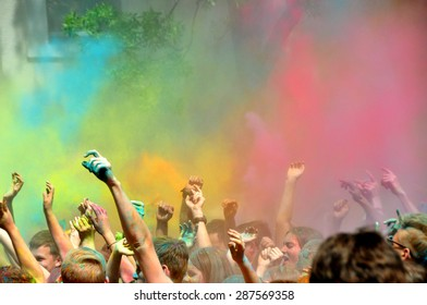 MINSK, BELARUS - JUNE 7: Second COLOR FEST is very popular among citizens (about 20000 people visit it) on June 7, 2015 in Minsk, Belarus.