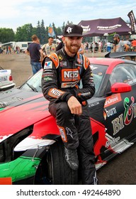 Minsk, Belarus - June14,2015: American celebrity driver Chris Forsberg after his competition in drift in Minsk, Europe. American famous drifter. Formula Drift Champion & Triple Crown Champion