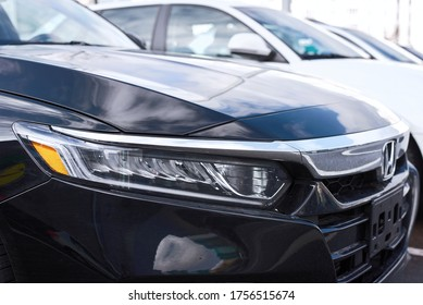 Minsk, Belarus - Mar 2020. Honda Accord X full led headlamp close up. LED daytime running lights. Head lamp of Honda Accord. Tenth generation Accord production began on September 2017