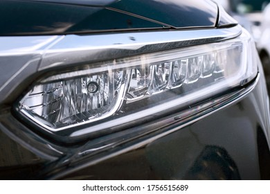Minsk, Belarus - Mar 2020. Honda Accord full led headlamp close up. LED daytime running lights. Head lamp of Honda Accord