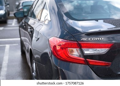 Minsk, Belarus - Mar 2020. Honda Accord X rear lights. Rear view on Honda Accord, stop light and turn signal of modern sedan car. Tail lights detail