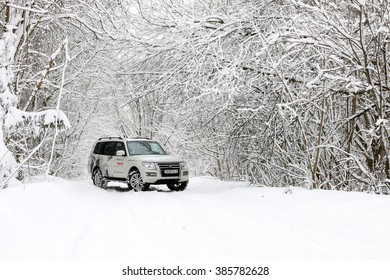 MINSK, BELARUS - MARCH 02, 2016: New Mitsubishi Pajero IV at the test drive event for automotive journalists from Minsk