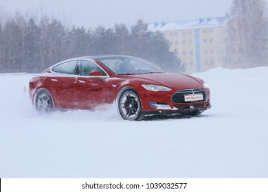 MINSK, BELARUS MARCH 03, 2018: Tesla Model X and Tesla Model S at the test drive and competition event for automotive journalists from Minsk