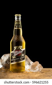 MINSK, BELARUS - March 07, 2017: Miller Genuine Draft is the original cold filtered packaged draft beer, a product of the Miller Brewing Company owned by SABMiller.