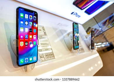 Minsk, Belarus, March 13, 2019: Apple iPhone XS max smartphone stands on display inside an Apple Store