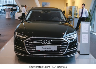 MINSK, BELARUS MARCH 14, 2018: New Audi A8 and A8L at the presentation for automotive journalists from Minsk