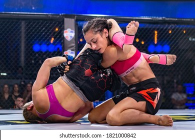 Minsk, Belarus, March 14, 2020. New Fighting Generation, Mixed Martial Arts. mma, the woman are fighting in the ring, in the octagon