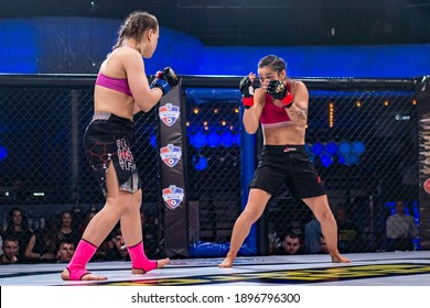Minsk, Belarus, March 14, 2020. New Fighting Generation, Mixed Martial Arts. mma, the girls are fighting in the ring, in the octagon