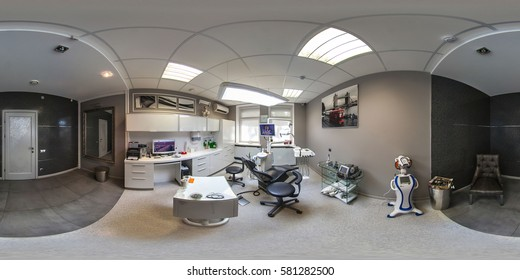 Minsk, Belarus - March 15, 2014. Full 360 equirectangular spherical panorama view of dental office. Virtual reality content