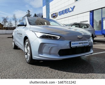 MINSK, BELARUS MARCH 16, 2019: Geely Geometry A at the test drive event for automotive journalists from Minsk
