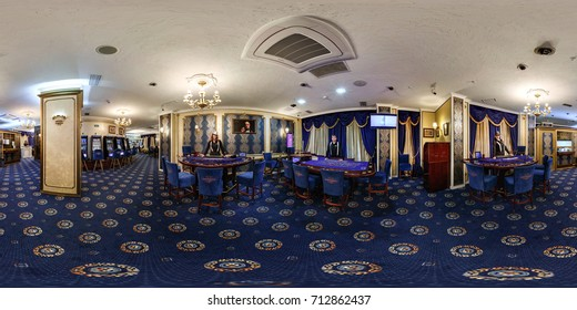 MINSK, BELARUS - MARCH 18, 2016: 360 panorama in interior luxury casino with croupiers girls. Full spherical 360 by 180 degrees seamless panorama in equirectangular equidistant projection. VR content