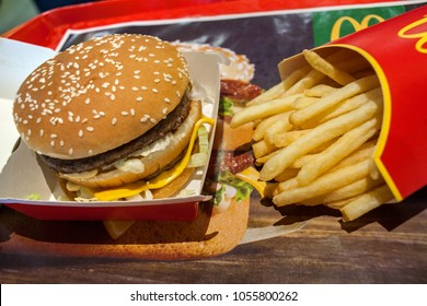 Minsk, Belarus, March 20, 2018: Big Mac and French fries in McDonald's Restaurant