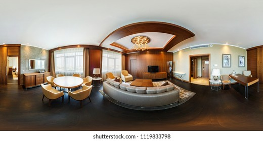 MINSK, BELARUS - MARCH, 2017: Full spherical 360 degrees angle view seamless panorama interior vip guest room in loft apartment of hotel in equirectangular equidistant projection, panorama, VR content