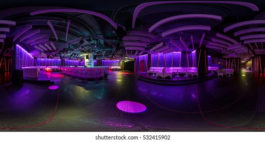MINSK, BELARUS - MARCH 21, 2015: Full 360 by 180 degree angle seamless panorama view in equirectangular spherical projection in stylish night club with violet neon light. skybox for VR AR content