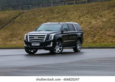 MINSK, BELARUS MARCH  22, 2017: New Cadillac Escalade produced in Belarus at the test drive event for automotive journalists from Minsk