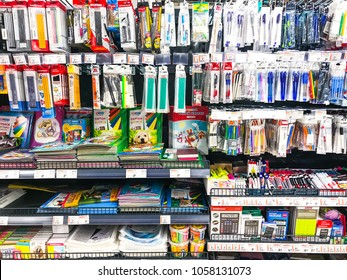 Minsk, Belarus - March 23, 2018: Shelves with stationery in supermarket of various manufacturers.
