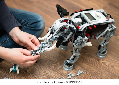 Minsk, Belarus - March 25, 2017: Teenager schoolboy sitting on the floor and construct the lego robot elephant.  Mindstorms EV 3. School Robotics. E-learning. Stem education.