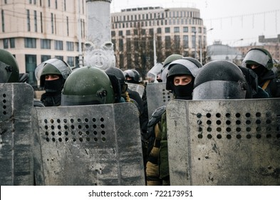 Minsk, Belarus - March 25, 2017 - Special police unit with shields against protesters. Belarusian people participate in the protest against the decree 3 Lukashenko and the current authorities.