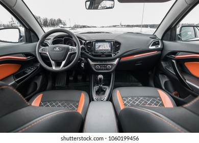 MINSK, BELARUS - MARCH 25, 2018: Lada Vesta SW Cross at the test-drive. Photo of the interior.