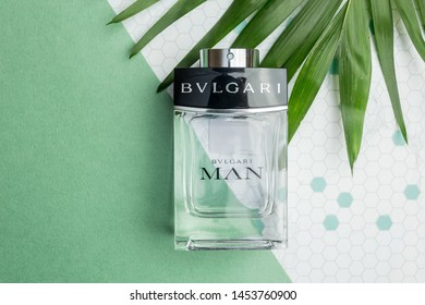 MINSK, BELARUS - MARCH 25,2019; Perfume bottle of BVLGARI MAN.