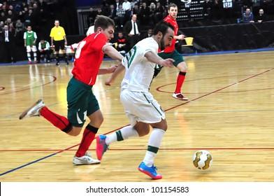 MINSK, BELARUS - MARCH 26: qualification World Cup 2012, Belarus � Portugal: Dribbling of the leader of Portugal Ricardinho (#10 ) on March 26, 2012 in Minsk, Belarus