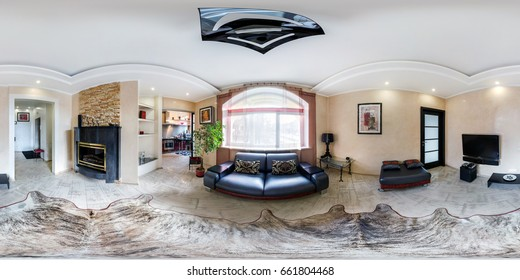 MINSK, BELARUS - MARCH 27, 2014: Full spherical 360 degrees seamless panorama in equirectangular equidistant projection, panorama in interior of guestroom hall in modern flat apartments, VR content