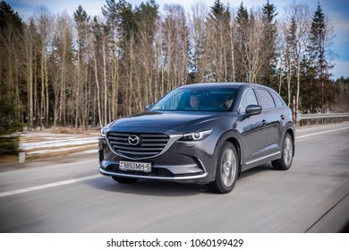 MINSK, BELARUS - MARCH 27, 2018: Second generation of Mazda CX-9 at the test-drive event. Mazda CX-9 is a truly striking 7-passenger SUV.