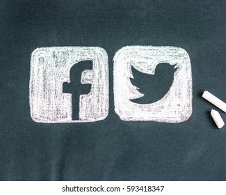 Minsk, Belarus - March 5, 2017: Facebook and Twitter logo. Social network.   Handmade. Picture. Pastel.