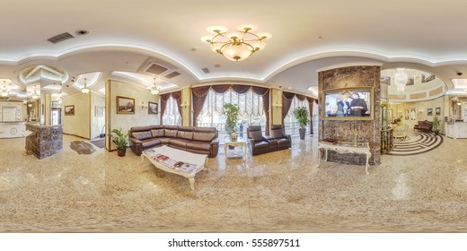 MInsk, BELARUS - March 7, 2015: The interior of the luxury hotel's easy rich gold full 360 panorama in equirectangular spherical projection, VR content