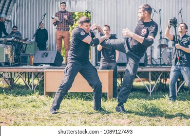 Minsk, Belarus, May 05, 2018: Demonstration performances of experts of hand-to-hand fighting Israeli Krav Maga. Festival of a healthy way of life
