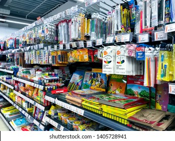 Minsk, Belarus - May 11, 2019: Items for school from various manufacturers on store shelves.