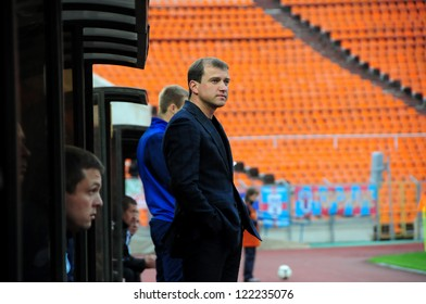 MINSK, BELARUS - May 12: The head coach (FC Minsk) during the regular champ match between FC Belshina and FC MINSK on May 12, 2012 in Minsk, Belarus