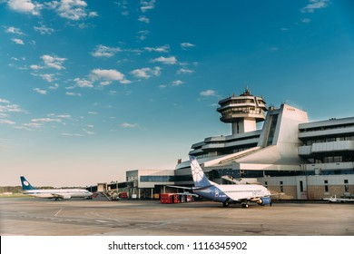 Minsk, Belarus - May 13, 2018: Aircrafts Planes Of Airlines Belavia Stand At Minsk National Airport - Minsk-2 Terminal In Early Morning.