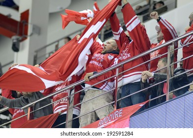 MINSK, BELARUS - MAY 13: Fans of Denmark celebrate during the IIHF World Championship match between Denmark and Italy at Chizhovka Arena on May 13, 2014 in Minsk, Belarus.
